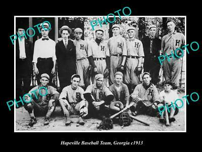 OLD LARGE HISTORIC PHOTO OF HAPEVILLE GEORGIA, THE TOWN BASEBALL TEAM c1913