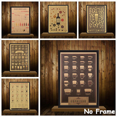 Bar Decoration Coffee Retro Poster Vintage Picture Kraft Paper Wall Sticker