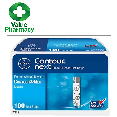 New Bayer Contour Next Blood Glucose Test Strips 100