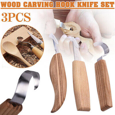 3pcs Spoon Carving Blades Wood Carving Tools Crooked Hooked Blade Whittling
