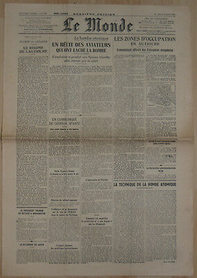 journal LE MONDE 09/08/1945 n°200 bombe atomique Guerre 39-45 WWII