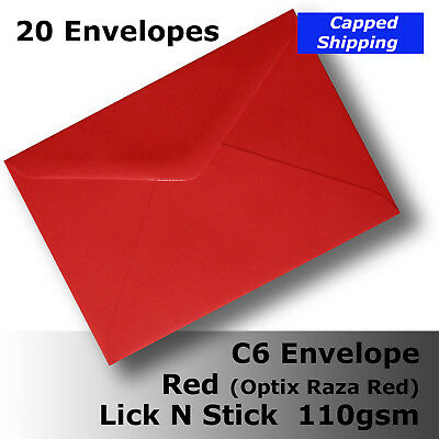 20 Envelopes C6 Raza Red 110gsm LickNStick Party Occasion #C1971 #A1