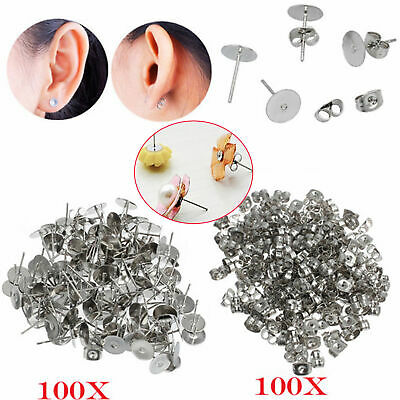 100 Pairs 6mm Earring Stud Posts Pads and backs Hypoallergenic Surgical Steel AU