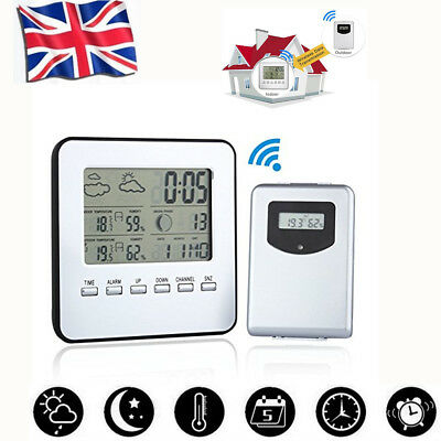 UK Wireless Digital LCD Weather Station Sensor Calendar Thermometer Home Outdoor