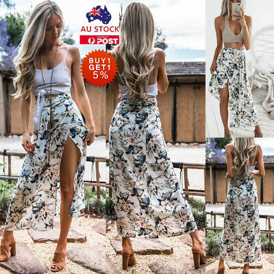 ea79eaf769 Women Boho Floral Maxi Skirt High Waist Split Beach Party Holiday Swing  Sundress