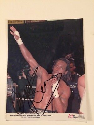 Nigel Benn Hand Signed Boxing Photo Announcing Retirement After Collins Defeat