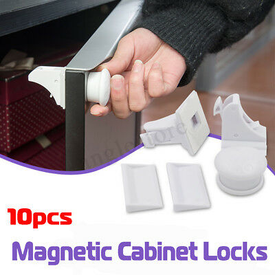 10PCS Magnetic Cabinet Locks Drawer Cupboard Wardrobe Baby Kids Safety Child US