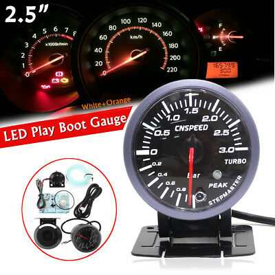 12V 2.5'' 60mm Universal Car LED Turbo Boost Vacuum Pressure Gauge Meter Pointer