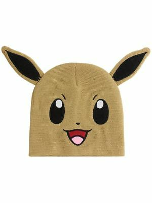 Officially Licensed Pokemon Character Eevee Brown Beanie Hat - Unisex One Size