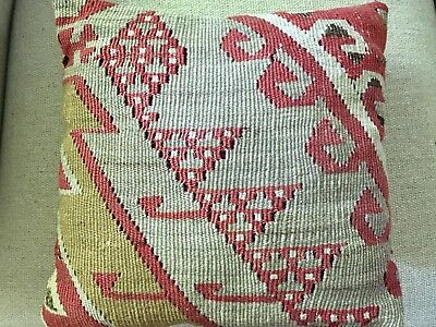 Old Antique Caucasian Kilim Flat Weave Rug Wool Pillow