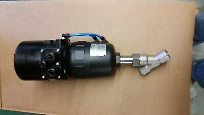 """Burkert 2702 1/2"""" Npt Ss Angle Valve With 8630 Top Control Actuation System"""