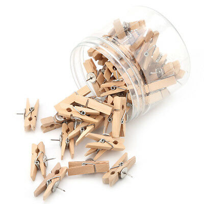 50 x Creative Natural Crude Wood Clips Craft Photo Clothes Paper Pegs Decor 35mm