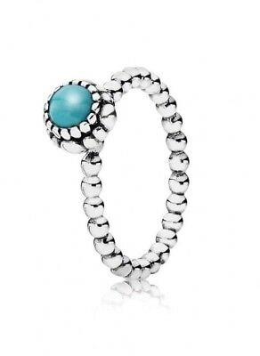 Pandora Genuine Sterling Silver Birthstone Ring Turquoise Size 56