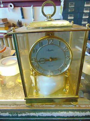 Vintage Master  400-Day Anniversary Clock with Key --Brass & Glass