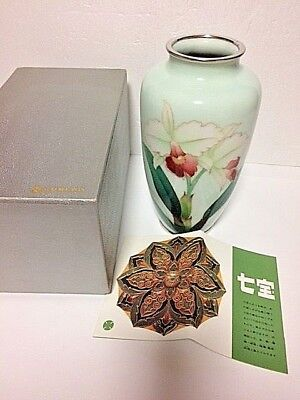Marked Ando   Japanese Cloisonne with Orchid  in  Box