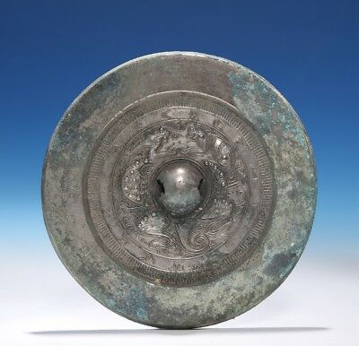 Marvelous Chinese Tang Dynasty Antique Round Old Dragon Bronze Mirror CS76