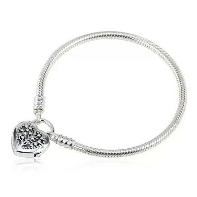 925 Sterling Silver Charm Bracelet with heart class 4.3mm Charm