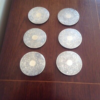 Set Of Six Silver-Plated Vintage Coasters. Green Baize Backing.