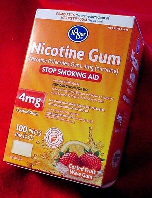 Nicotine Polacrilex Gum 4mg 100 pcs Made in Denmark Exp 9/18 Coated Fruit Wave