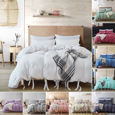 Washed Cotton Bedding Sets Comforter Duvet Quilt Cover Pillow Cases Solid Color