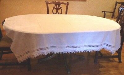 Vtg White Damask Tablecloth, Heavy Crochet Lace Trim Rectangle 65x72