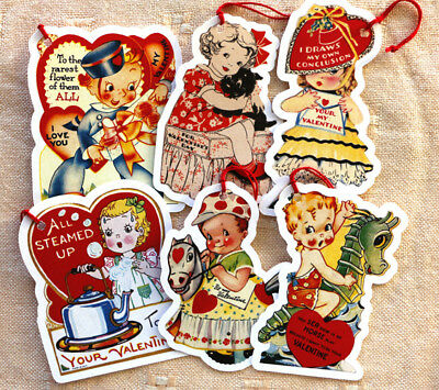 Valentine Tags ~6 Gift/Hang Tags~Children~Vintage Card Images~Paper Ornaments