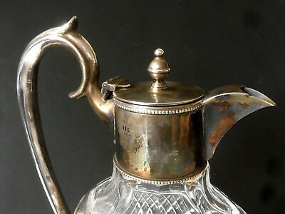 Antique Style Vintage Silver Plate Facet Cut Glass Claret Jug Red Wine Decanter