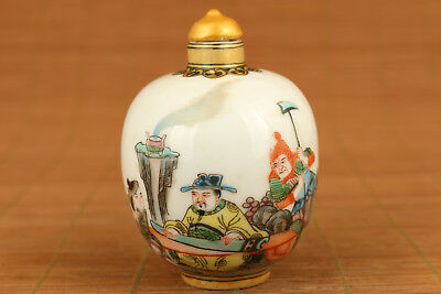 rare chinese old porcelain hand painting Art emperor hero Statue snuff bottle