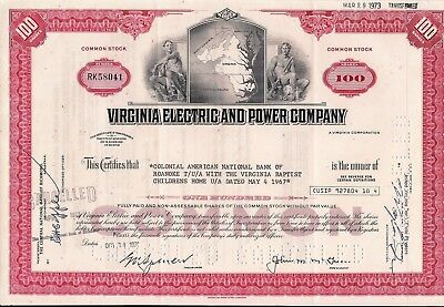 Stock certificate Virginia Electric & Power Comp. to Colonial National, Baptist