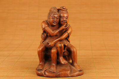 Antique rare old chinese Boxwood elder Art gift statue netsuke home decoration
