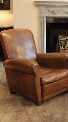 Pair Of French Leather Vintage Club Chairs