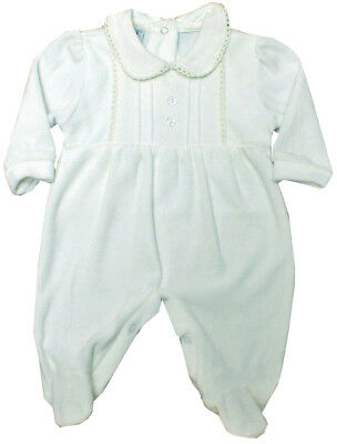 Baby Girls Boys Traditional Romany Spanish Style Cream Velour Babygrow Outfit