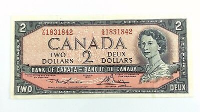 1954 Canada 2 Two Dollar VG Prefix Canadian Circulated Currency Banknote I379