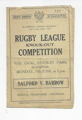 Salford V Barrow 1953 In Blackpool Rugby League Ko Programme England Lancashire