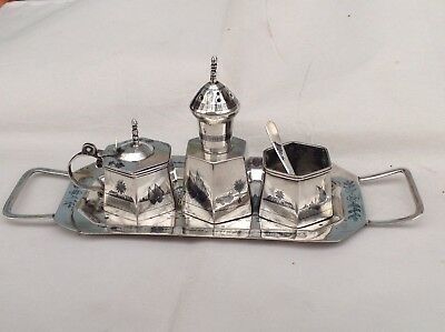 Excellent Vintage Egyptian Silver Niello Cruet and Stand