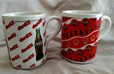 2 Vintage Cups 1997 Gibson Coca Cola Collectible Coffee Mugs