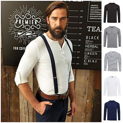 Mens Long Roll Sleeve Barista Shirt Top Henley Grandad Collarless Button Breton