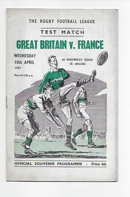 Great Britain V France 1957 Rugby League Vgc Programme @ St Helens England