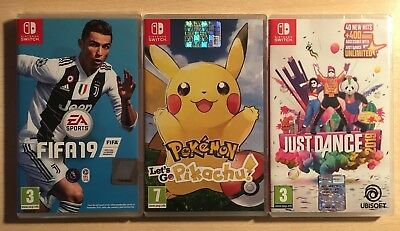Lotto 3 Giochi Nintendo Switch Pokemon Let's Go Pikachu Fifa 19 Just Dance 2019