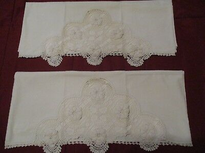 Beautiful & Romantic White Vintage Pillowcases With Hand Crochet Edging