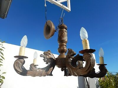 Antique French wood chandelier 5 arms gothic dragon