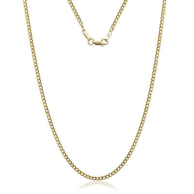 14K Solid Yellow Gold Cuban Link 2.40 Mm Women/ Men's Necklace Chain 26""