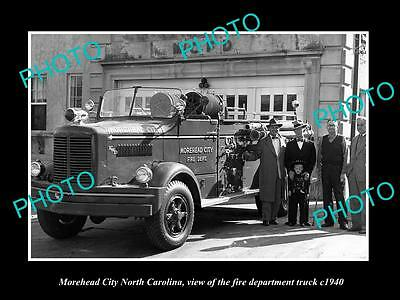 OLD LARGE HISTORIC PHOTO OF MOREHEAD CITY NORTH CAROLINA, THE FIRE TRUCK c1940