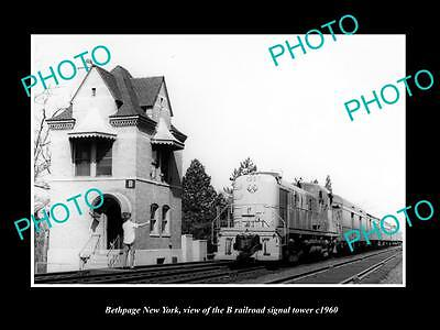 OLD LARGE HISTORIC PHOTO OF BETHPAGE NEW YORK, THE RAILROAD SIGNAL TOWER c1960
