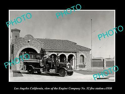 OLD LARGE HISTORIC PHOTO OF LOS ANGELES CA FIRE DEPARTMENT No 52 STATION c1930