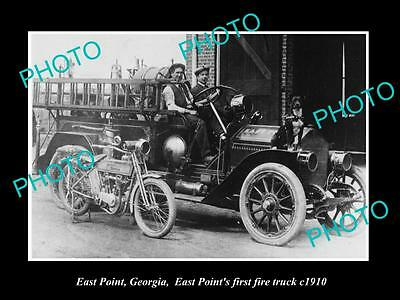 OLD LARGE HISTORIC PHOTO OF EAST POINT GEORGIA, THE 1st FIRE ENGINE TRUCK c1910