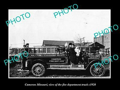 OLD LARGE HISTORIC PHOTO OF CAMERON MISSOURI, THE FIRE DEPARTMENT TRUCK c1920