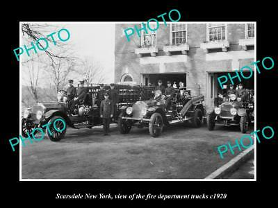 OLD LARGE HISTORIC PHOTO OF SCARSDALE NEW YORK, FIRE DEPARTMENT TRUCKS c1920