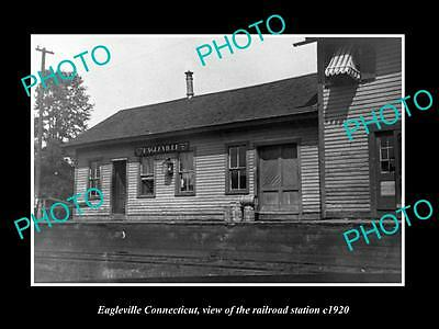 OLD LARGE HISTORIC PHOTO OF EAGLEVILLE CONNECTICUT, THE RAILROAD DEPOT c1920