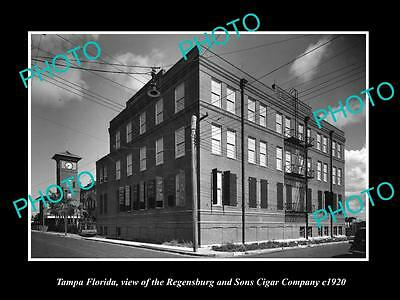 OLD LARGE HISTORIC PHOTO OF TAMPA FLORIDA, THE REGENSBURG CIGAR FACTORY c1920